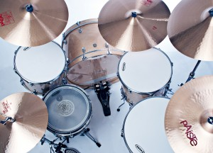 Todd Vinny Vincigueraa's Ludwig drum kit setup with Paiste cymbals