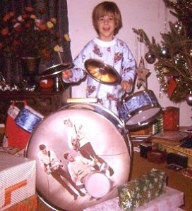 Todd Vinny Vinciguerra with his first drum kit aged 5